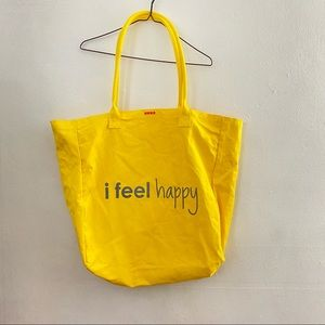 Peace Love World Yellow Large Happy Tote Bag EUC